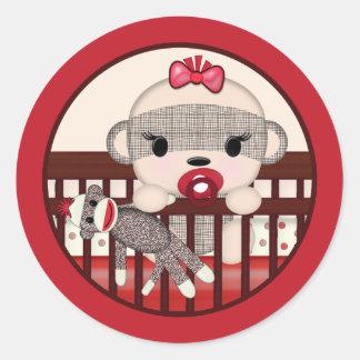 SOCK MONKEY Baby Shower Crib Seal Round GIRL Round Sticker