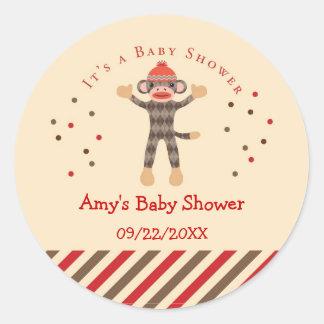 Sock Monkey Baby Shower Favor Sticker
