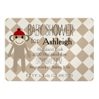 Sock Monkey baby shower 5x7 Paper Invitation Card