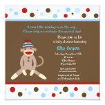 "Sock Monkey Baby Shower Invitations Boy 5.25"" Square Invitation Card"