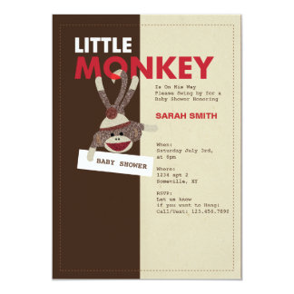 Sock Monkey Baby Shower Invite