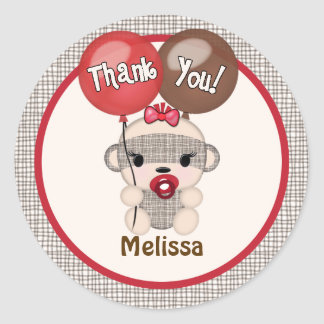 SOCK MONKEY Baby Shower Thank You Round GIRL #4 Classic Round Sticker