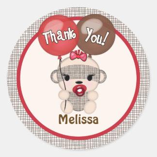 SOCK MONKEY Baby Shower Thank You Round GIRL #4 Round Sticker