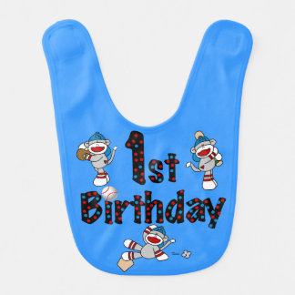 Sock Monkey Baseball 1st Birthday Bib
