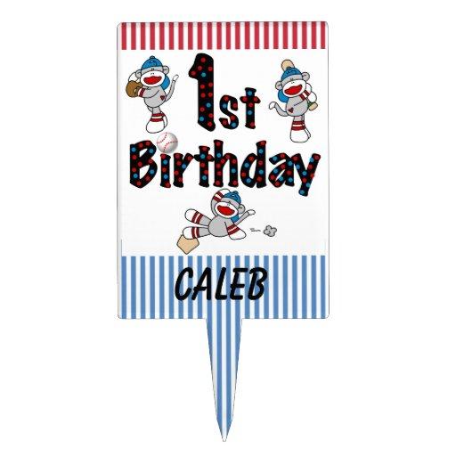 Sock Monkey Baseball 1st Birthday Cake Topper