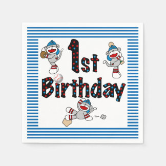 Sock Monkey Baseball 1st Birthday Paper Napkins
