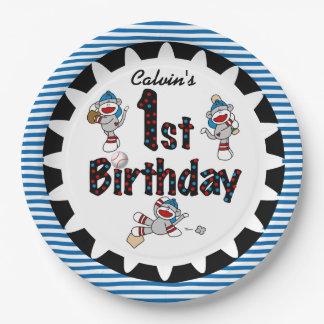 Sock Monkey Baseball 1st Birthday Paper Plates 9 Inch Paper Plate