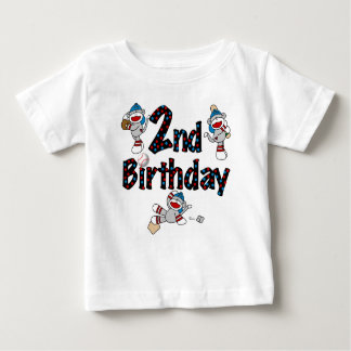 Sock Monkey Baseball Birthday Baby T-Shirt