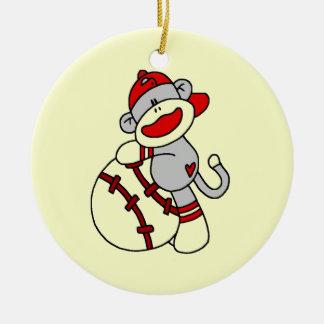 Sock Monkey Baseball T-shirts and Gifts Christmas Ornament