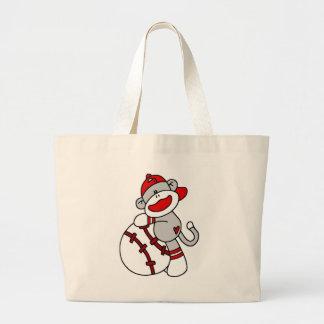 Sock Monkey Baseball T-shirts and Gifts Jumbo Tote Bag