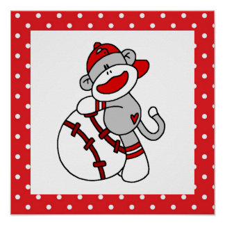 Sock Monkey Baseball T-shirts and Gifts Poster