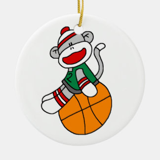 Sock Monkey Basketball T-shirts and Gifts Christmas Ornament