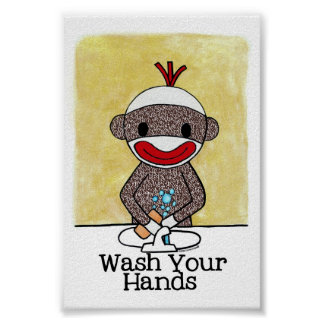 Sock Monkey Bathroom Reminder Wash Your Hands 4x6 Poster