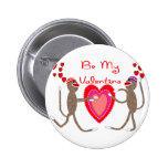 "Sock Monkey ""Be My Valentine"" Cute Gifts 6 Cm Round Badge"