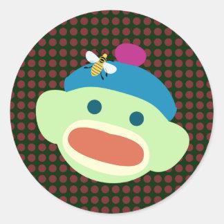 Sock Monkey & Bee Classic Round Sticker