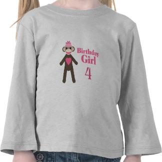 Sock Monkey Birthday Girl Shirt