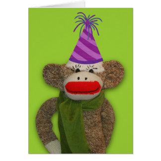 Sock Monkey Birthday Hat Note Card