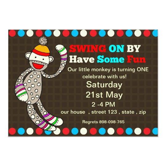 Sock  monkey Birthday invitation