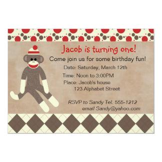 "Sock Monkey Birthday Invitation 5"" X 7"" Invitation Card"