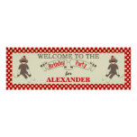 Sock Monkey Birthday party banner personalise Poster