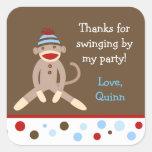 Sock Monkey Birthday Party Favour Stickers Boy