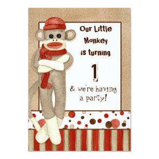 "Sock Monkey, Birthday Party Invitation 5"" X 7"" Invitation Card"