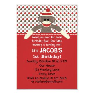 Sock Monkey Birthday Party invitation - customize