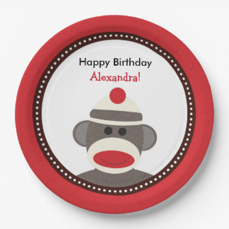 Sock Monkey Birthday Party Plates or Baby Shower