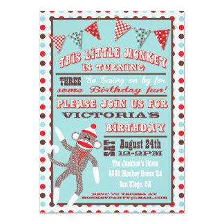 Sock Monkey Birthday Party Poster 13 Cm X 18 Cm Invitation Card