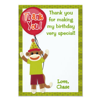 "Sock Monkey Birthday Party Thank You card 3.5""x5"