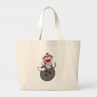 Sock Monkey Bowling Large Tote Bag