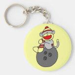 Sock Monkey Bowling T-shirts and Gifts Basic Round Button Key Ring