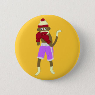 Sock Monkey Boxer 6 Cm Round Badge