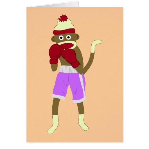 Sock Monkey Boxer Greeting Card