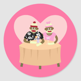 Sock Monkey Boy and Girl Romance Classic Round Sticker
