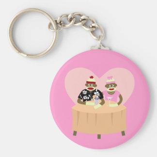 Sock Monkey Boy and Girl Romance Key Ring