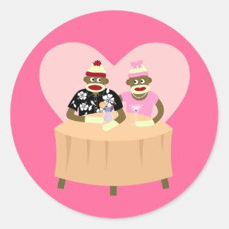 Sock Monkey Boy and Girl Romance Round Sticker