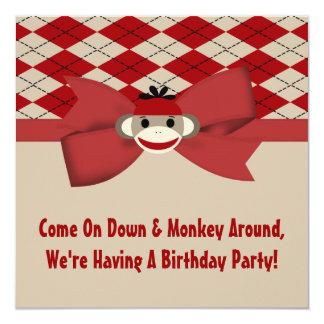Sock Monkey Boy Gingham Birthday Party Card
