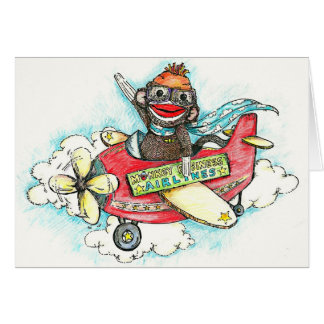 Sock Monkey Business Airlines Greeting Card