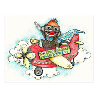 Sock Monkey Business Airlines Postcard