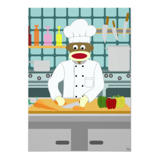 Sock Monkey Chef 13 Cm X 18 Cm Invitation Card