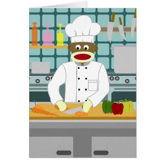 Sock Monkey Chef Greeting Card