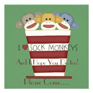 Sock Monkey CHILDREN'S Birthday Invitation