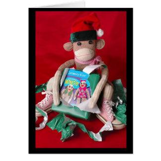 Sock Monkey Christmas Greeting Card