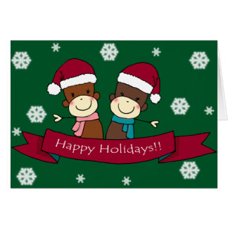 Sock Monkey Christmas Greeting Card