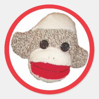 Sock Monkey Classic Round Sticker