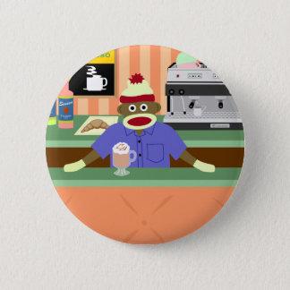 Sock Monkey Coffee Shop Barista 6 Cm Round Badge