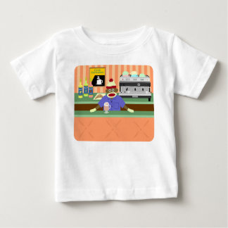 Sock Monkey Coffee Shop Barista Baby T-Shirt