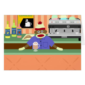 Sock Monkey Coffee Shop Barista Card
