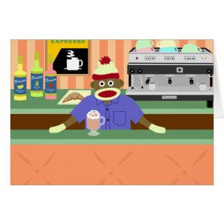 Sock Monkey Coffee Shop Barista Greeting Card